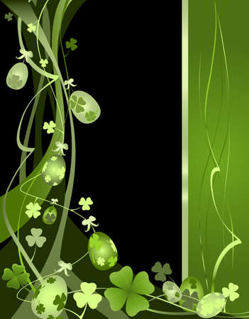 springtime design with Easter eggs and clovers  photo