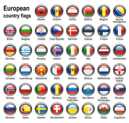 shiny web buttons with european contry flags photo