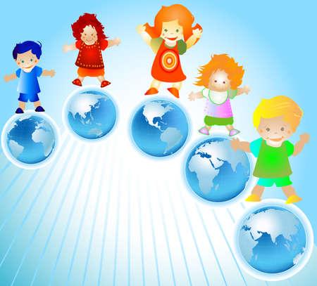 przyjaciół, dzieci i planety Ziemi Zdjęcie Seryjne - 2574789