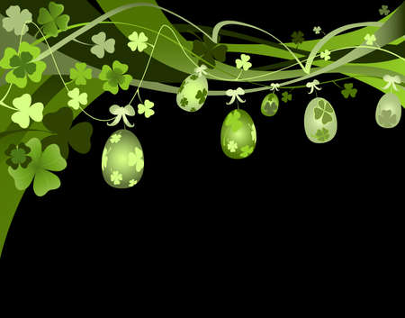 design for spring with Easter eggs and clovers  photo