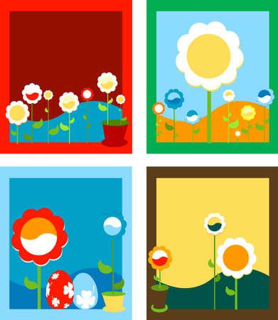 framed: framed spring flowers; floral background  Stock Photo