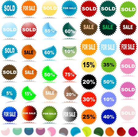 sale stickers with discount and reflection Stock Photo - 2586065