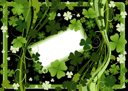 frame with four and three leaf clovers  Stock Photo - 2606485