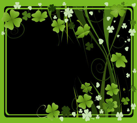 17th march: design for St. Patricks Day with four and three leaf clovers