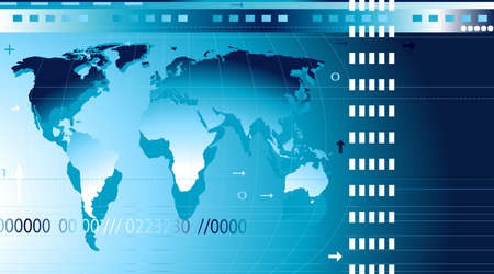 communication; abstract design background with world map, digits, arrows, waves photo