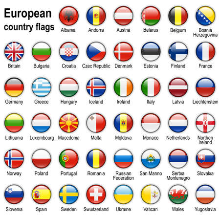 shiny web buttons with european contry flags Stock Photo - 2639255