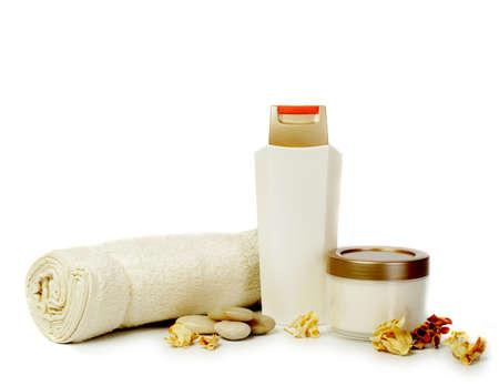 productos de belleza: Belleza cosm�tica conjunto aisladas sobre fondo blanco