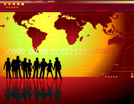 communication; abstract design background with people, world map, digits, arrows, waves photo