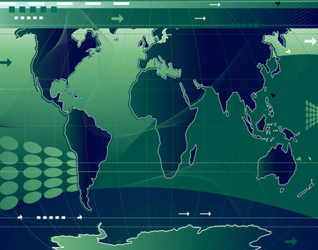 communication; abstract world map background with arrows and waves photo