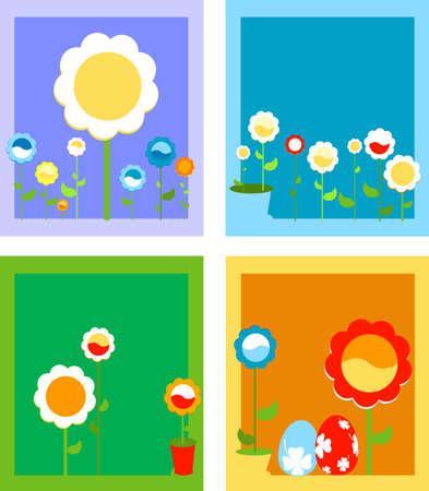 framed spring flowers; floral background  Stock Photo