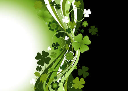 design for St. Patricks Day with four and three leaf clovers