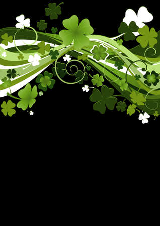 design for St. Patricks Day with four and three leaf clovers  photo