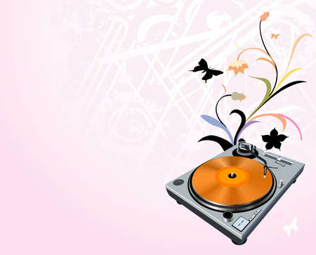 turntable on floral grunge background photo