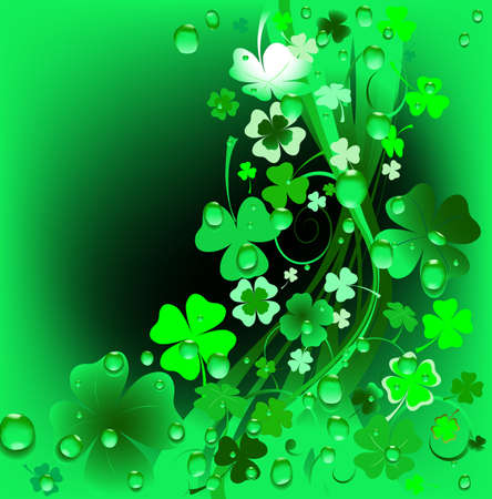 green background; abstract design with clovers and water drops Stock Photo