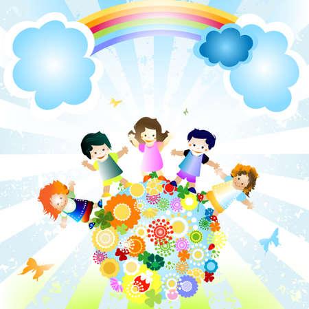joyful illustration with planet earth and happy children illustration