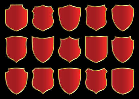 red shield with gloden border; design set with various shapes photo