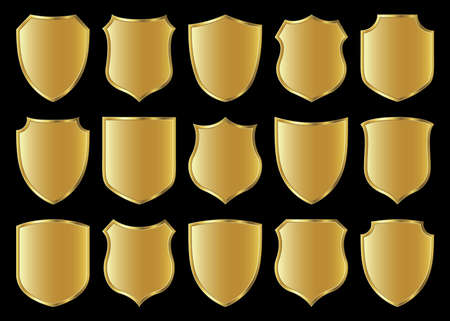 golden shield design set with various shapes photo