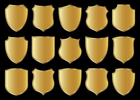 golden shield design set with various shapes