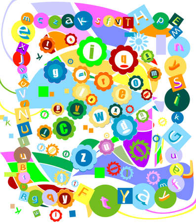 colorful decorative background with alphabet letters and abstract shapes Stock Photo - 3016333