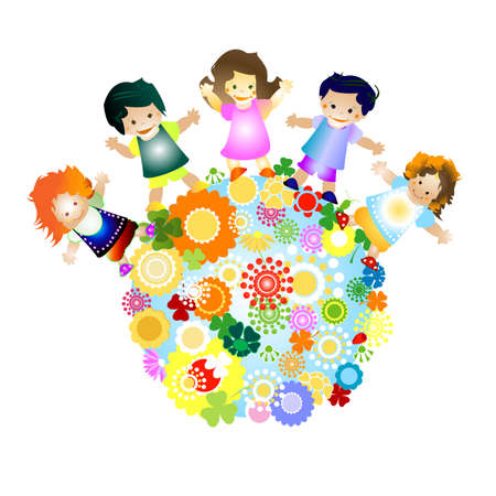 joyful illustration with planet earth, happy children and colorful flowers illustration