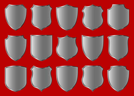silver shield design set with various shapes Stock Photo - 3016342