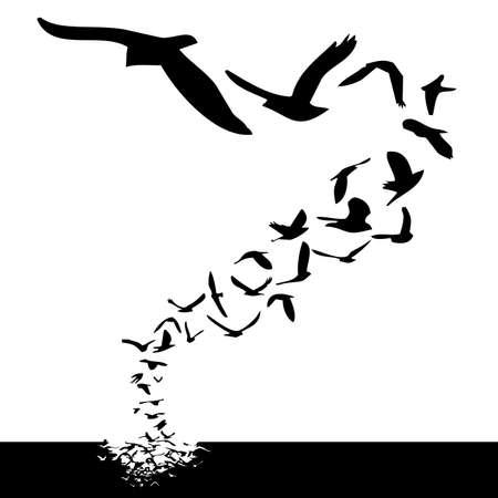 formations: Veel vogels vliegen; silhouet stijl illustratie Stockfoto