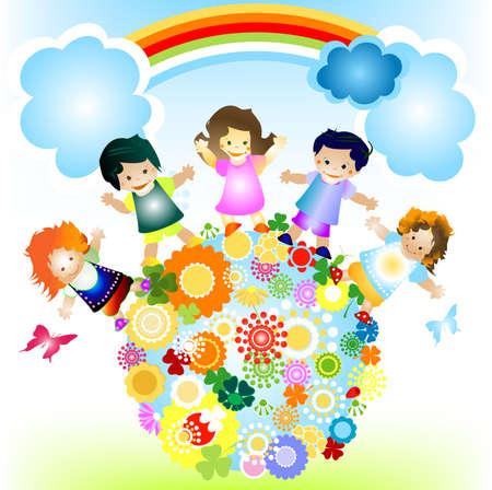 planeta tierra feliz: los ni�os y el planeta; alegre ilustraci�n con el planeta tierra, los ni�os felices y coloridas flores