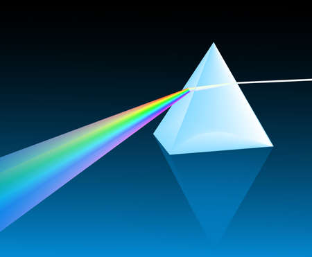 refracting: ray of light refracting through a pyranid