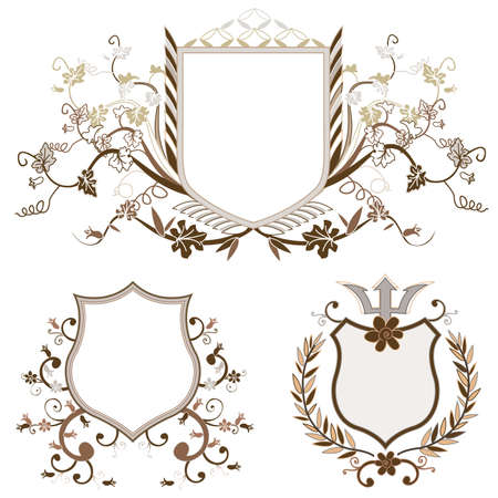 shield design set with various shapes and decoration Stock Photo - 3080576