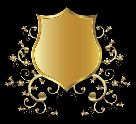escudo militar: Golden dise�o de un blindaje  Foto de archivo