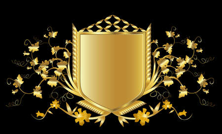 golden shield design set with various shapes and decoration Stock Photo - 3224298