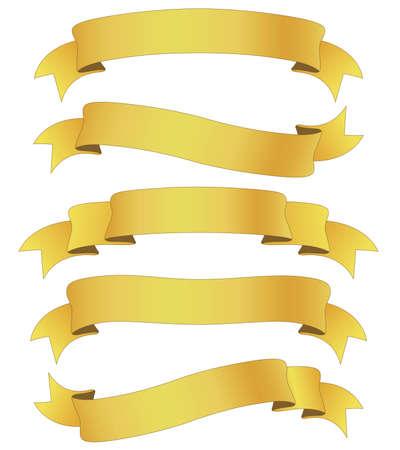 set of five curled golden ribbons, illustration illustration