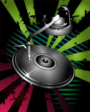 Party design with turntable on abstract background photo