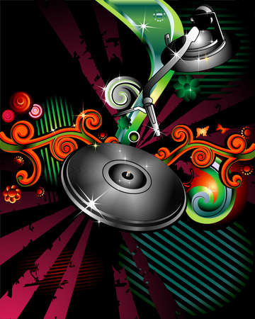 Party design with turntable on floral grunge background photo