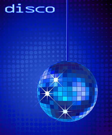 retro party background with disco ball, illustration Stock Illustration - 3318729