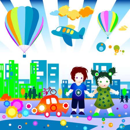 airplain: Children world:  and community Stock Photo