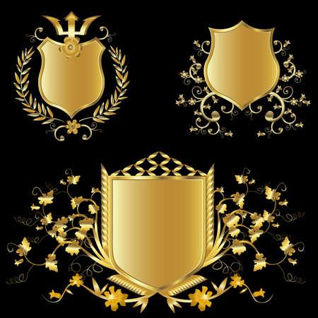 escudo de armas: escudo de oro de dise�o conjunto con diversas formas y decoraci�n