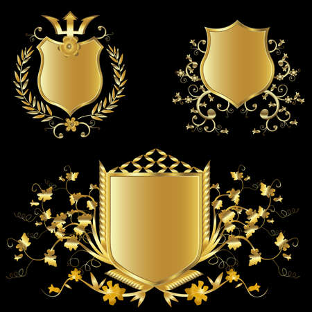 shield logo: golden shield design set with various shapes and decoration Stock Photo