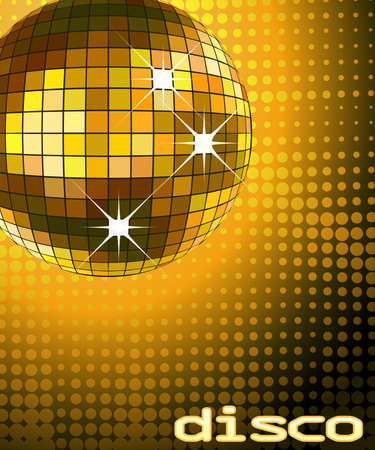 mirrored: retro party background with disco ball, illustration Stock Photo