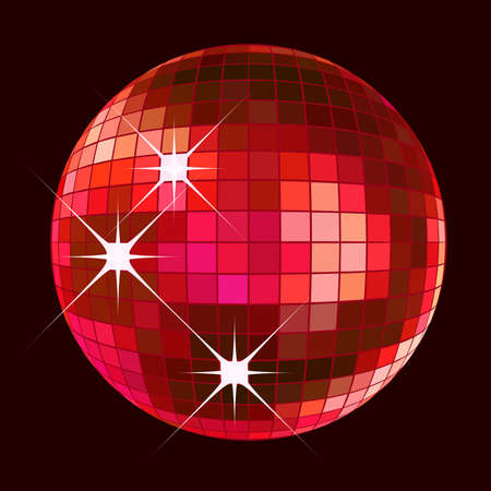 retro party background with disco ball, illustration Stock Photo