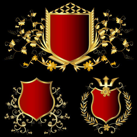 golden shield design set with various shapes and decoration Stock Photo - 3334931