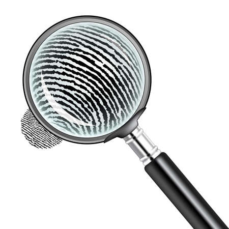 forensics: illustration of a magnifying glass over a fingerprint Stock Photo