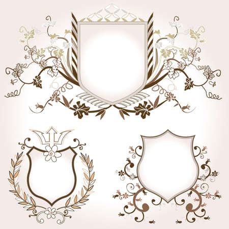 shield design set with various shapes and decoration photo