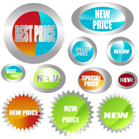 set of different shapes of stickers Stock Photo - 3340683