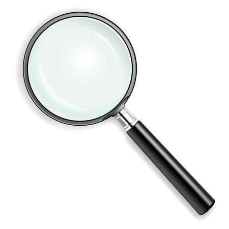 find glass: illustration of a magnifying glass over white background
