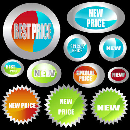 set of different shapes of stickers Stock Photo - 3344980