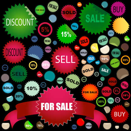 set of different colors and shapes of sale stickers Stock Photo - 3344998