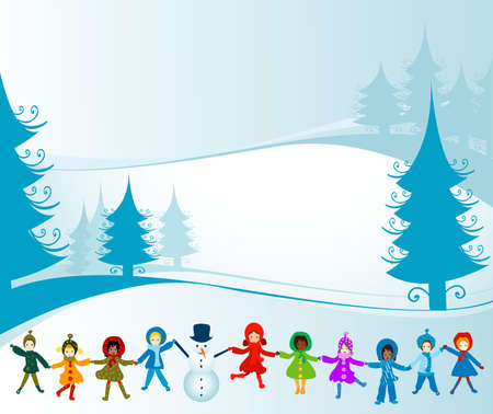 seasonable: children playing in a winter landscape Stock Photo