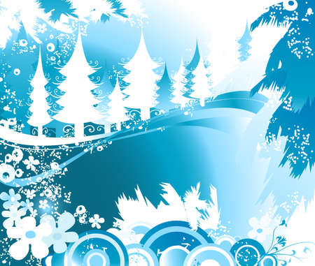 merrytime: winter landscape with fir tree forest Stock Photo