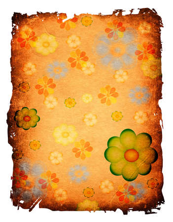 scarp: floral design on a grunge old paper Stock Photo